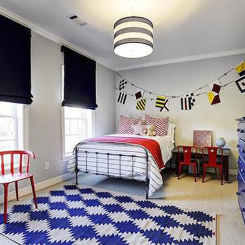 Black Roman Shades, Transitional, Boy's Room, HAR