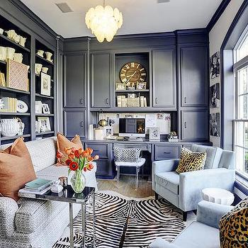 Office with Blue Built Ins, Transitional, Den/library/office, HAR