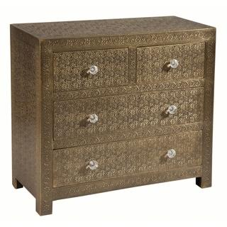 Portico Floral-etched Brass Sheeted Accent Chest, Overstock.com Shopping, The Best Deals on Coffee, Sofa & End Tables