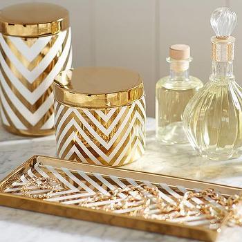 Gold Chevron Accessories I Pottery Barn
