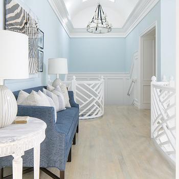 Lattice Stair Railing, Transitional, Entrance/foyer, Benjamin Moore In Your Eyes, Brooke Wagner Design