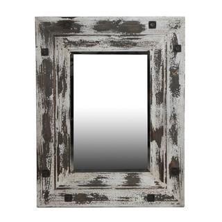 Distressed White Wooden Reclaimed Mirror, Overstock.com