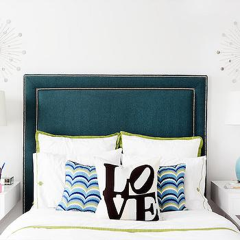 Peacock Blue Headboard, Contemporary, Girl's Room, Domaine Home