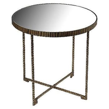Mirror Top Iron X-Base Accent Table, Brown I Target