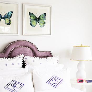Purple Velvet Headboard, Transitional, Girl's Room, Domaine Home