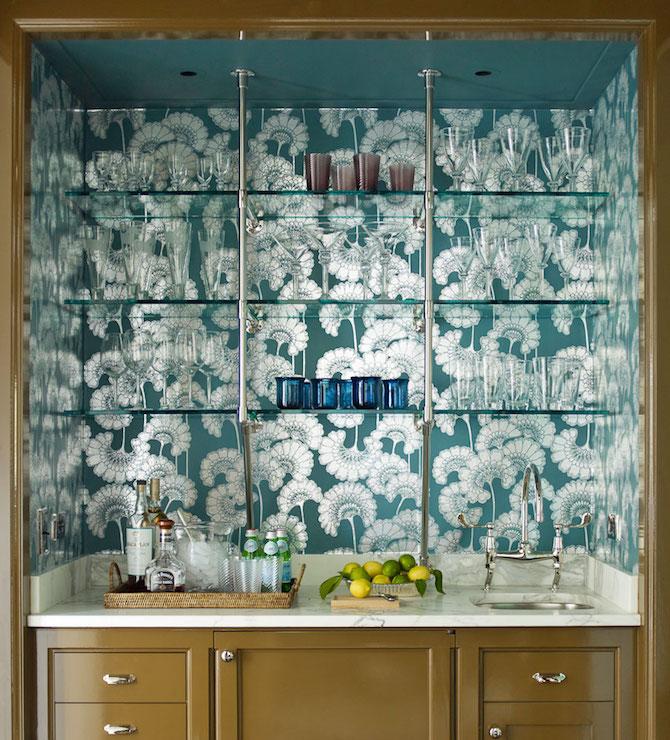 Teal floral wallpaper transitional kitchen anik pearson for Teal kitchen wallpaper