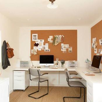 Cork Board Over Desk, Transitional, Den/library/office, Amanda Teal Design
