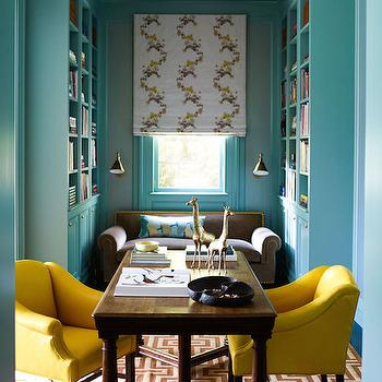 Turquoise Office Ideas, Transitional, Den/library/office, Anik Pearson Architect