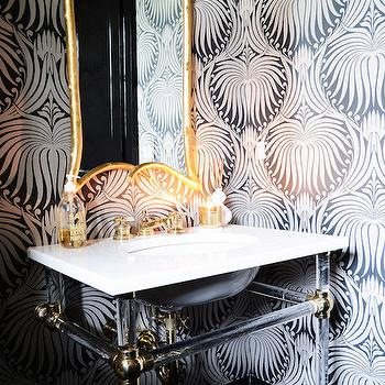Farrow and Ball Lotus Wallpaper, Contemporary, Bathroom, Domaine Home