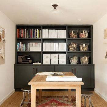 Black Built In Bookcase, Transitional, Den/library/office, Amanda Teal Design