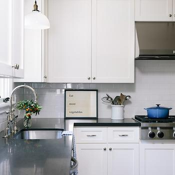 White Kitchen Cabinets with Black Counters, Transitional, Kitchen, Amanda Teal Design