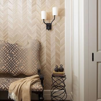 Herringbone Accent Wall, Transitional, Entrance/foyer, Anik Pearson Architect