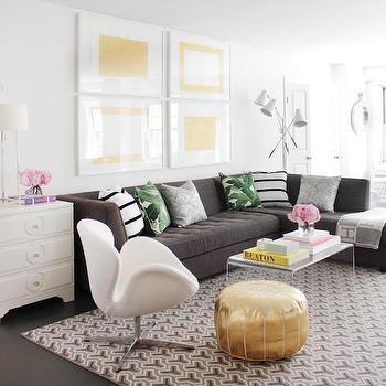 Gray Tufted Sectional, Contemporary, Living Room, Kapito Muller Interior