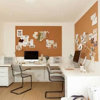 L Shaped Desk, Transitional, Den/library/office, Amanda Teal Design