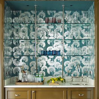 Teal Floral Wallpaper, Transitional, Kitchen, Anik Pearson Architect