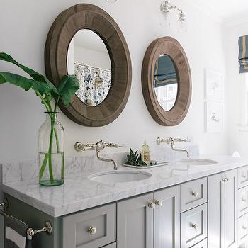 Gray Dual Vanity Ideas, Transitional, Bathroom, Benjamin Moore Fieldstone, Amanda Teal Design