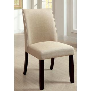 Furniture of America Lolitia Ivory Flax Fabric Dining Chairs (Set of 2), Overstock.com