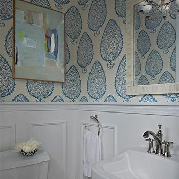 Powder Room with Wainscoting, Transitional, Bathroom, Cloth and Kind