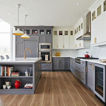 White Top Cabinets Gray Bottom Cabinets, Contemporary, Kitchen, Rebecca Hay Interior Design