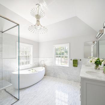 White and Grey Master Bathrooms, Contemporary, Bathroom, Clean Design Partners