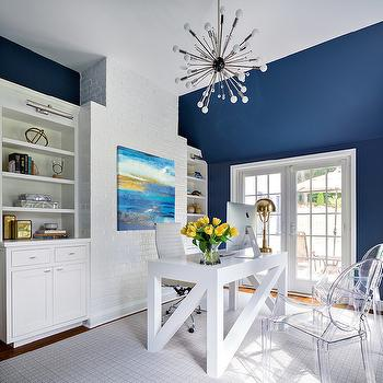 White and Navy Rooms, Contemporary, Den/library/office, Benjamin Moore Van Deusen Blue, Clean Design Partners