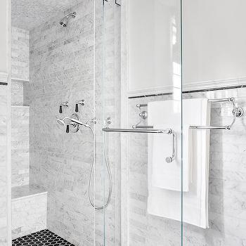 Shower with Black Hex Tile Floor, Transitional, Bathroom, Clean Design Partners