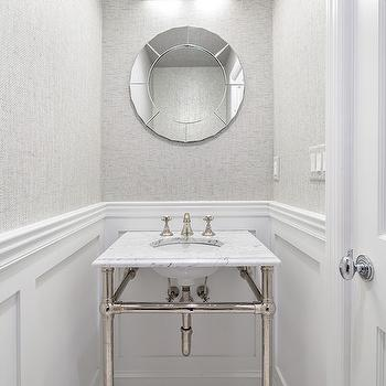 Gray Grasslcoth, Transitional, Bathroom, Clean Design Partners