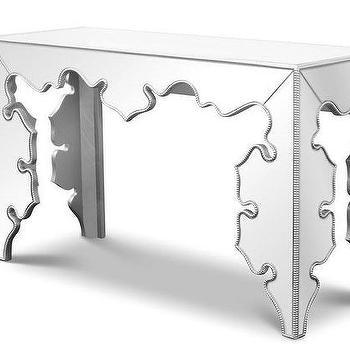 Gotham Mirrored Baroque Style Contemporary Console, Zuri Furniture