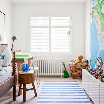 Kids Room with World Map Mural, Transitional, Boy's Room, Jennifer Worts Design