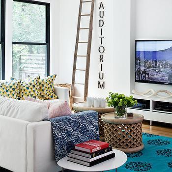 Peacock Blue Rug, Contemporary, Living Room, Jennifer Worts Design