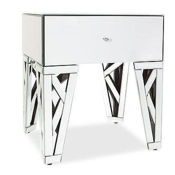 Azure Mirrored Glass End Table, Zuri Furniture