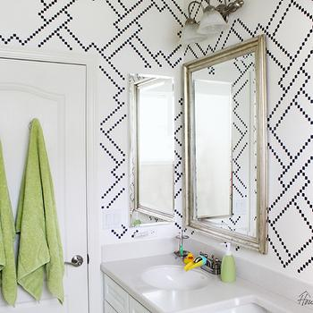 Bathroom with Wall Stencils, Contemporary, Bathroom, Benjamin Moore Hale Navy, House Mix