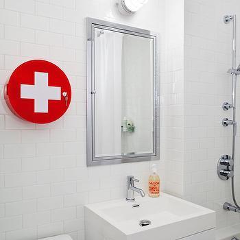 Red Cross Medicine Round Bathroom Cabinet, Contemporary, Bathroom, Jennifer Worts Design
