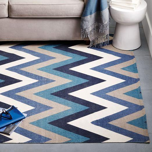 West Elm Blue And White Rug: Chevron Cotton Dhurrie Rug