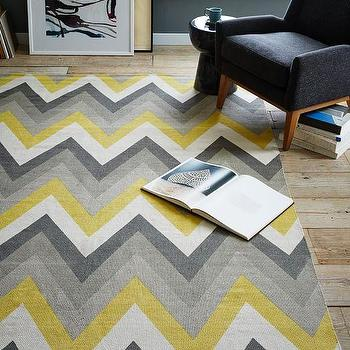 Chevron Cotton Dhurrie Rug, Sun Yellow I West Elm