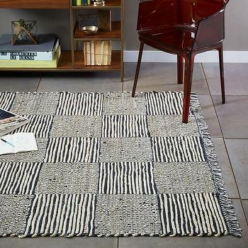 Grid Leather Jute Rug, Iron I West Elm