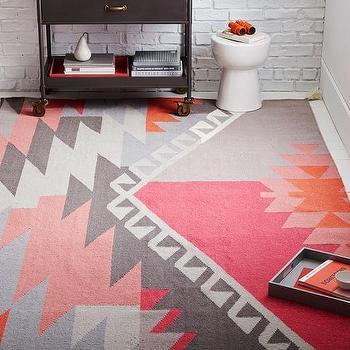 Sivas Wool Kilim Rug, Macaroon Pink I West Elm