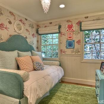 Teal Daybed, Transitional, Girl's Room, Kathleen DiPaolo Designs