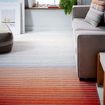 Ombre Stripe Cotton Dhurrie Rug, Sweet Potato I West Elm