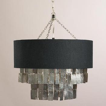 Charcoal Gray Capiz Linen Pendant Lamp I World Market