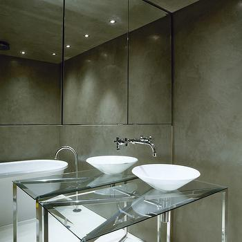 Bathroom with Mirrored Accent Wall, Modern, Bathroom, Purple Design