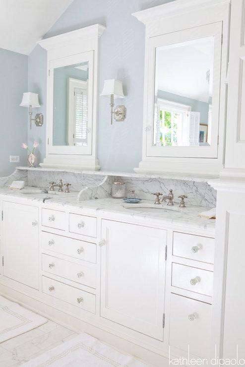Vanity Backsplash With Shelf Traditional Bathroom