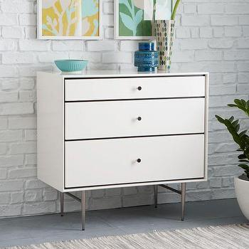 Heston Mid-Century 3-Drawer Dresser, White I West Elm