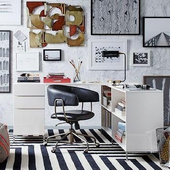 Lacquer Storage Desk Set, Box File + Bookcase I West Elm