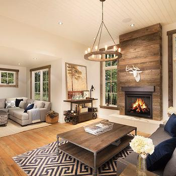 Wood Plank Fireplace, Cottage, Living Room, Crestwood Construction