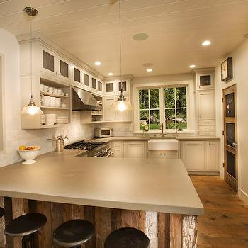 Reclaimed Wood Kitchen Peninsula, Cottage, Kitchen, Crestwood Construction