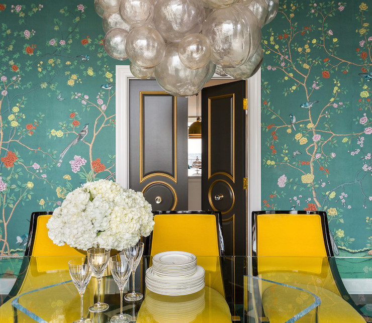 Teal Chinoiserie Wallpaper Contemporary Dining Room