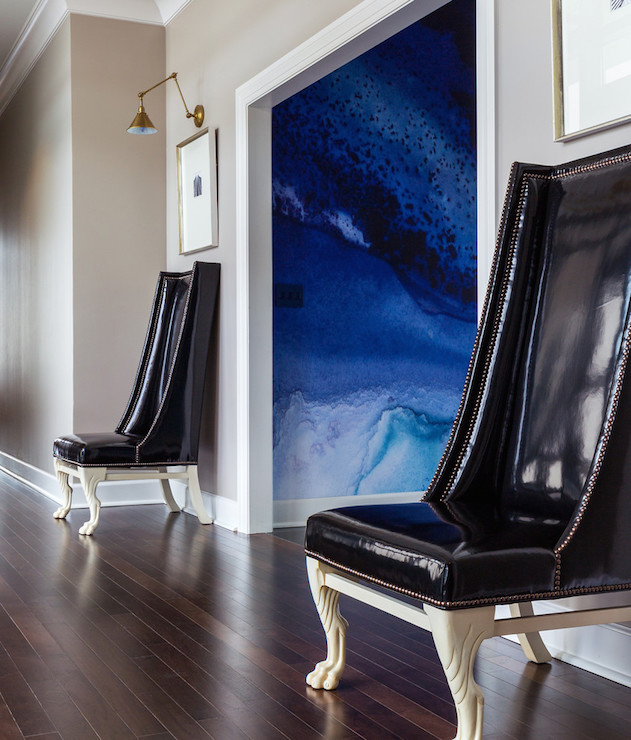 Black Vinyl Wingback Chairs, Contemporary, Entrance/foyer, Sherwin Williams Anew Gray, Tobi Fairley