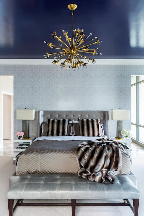 Navy Blue Ceiling Contemporary Bedroom Benjamin