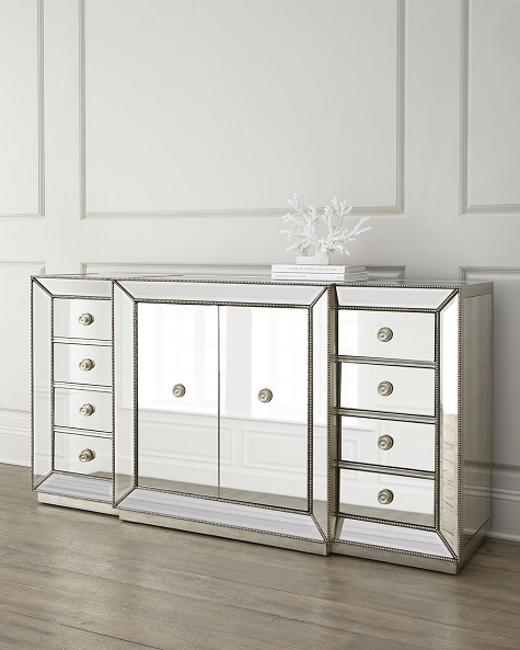 Horchow Shilo Two-Door Mirrored Console Look for Less